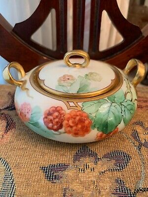 Art Nouveau Richard Ginori Hand Painted Italy Signed/Stamped Covered Sugar Bowl!