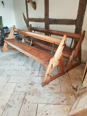Pair of pitch pine and iron  7.5ft  Antique church pews ideal for dining table