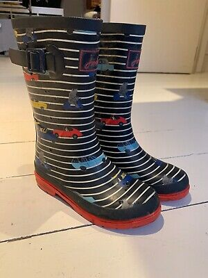Joules Boys Car Wellies Blue Stripe Hardly Worn Size 1 Size 33