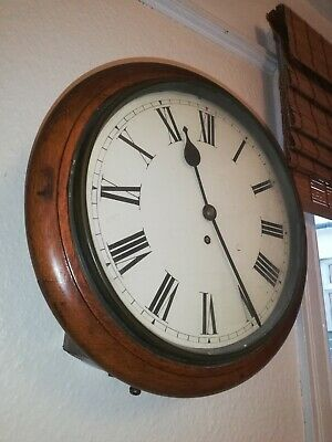 Antique Mahogany Schoolhouse Station Wall Clock 12 Inch Dial - 8 day