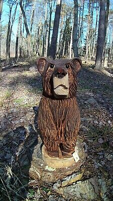 Chainsaw carved bear wood handmade rustic cute teddy bear
