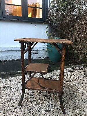Antique Bamboo Side Table   3 Tier