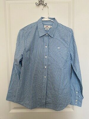 Vineyard Vines Womens Size 6 Classic Long Sleeve Button Down Shirt Blue Stripe