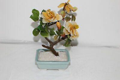 Vintage Chinese Carved Hard Stone Bonsai Floral Potted Jade Tree