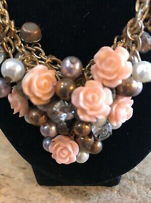 Vintage Victorian Era Style Pearls And Antique Rose Bud Bib Necklace