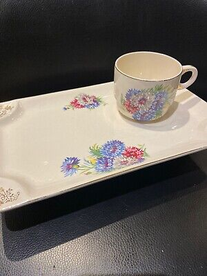 Brexton England Cosmos Daisies 7672, Large Sandwich Plate And Cup Picnic....