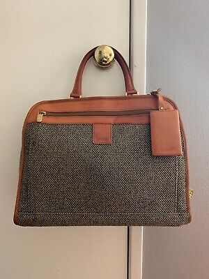 Hartmann Tweed Leather Trimmed Carry On Luggage Duffle Weekend Companion Bag
