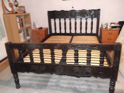 Wooden carved double bed frame used