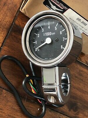 Universal Black Face Motorcycle Tachometer 1.25in mount - 0-8000 rpm