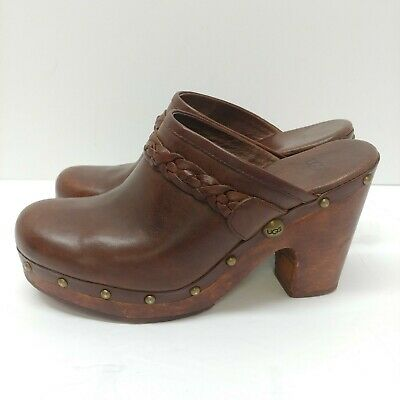 UGG Womens Kaylee Clogs Size 9 Brown Leather Mules Studded Heels Shearling 3206