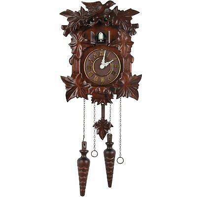 "Linden Wooden Cuckoo Wall Clock Roman Numerals Ornate Bird 11.5"" x 9"" x 5.75"""