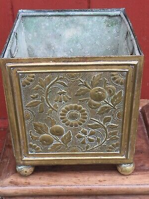 Arts & Crafts Brass Jardiniere, Original Liner, William Morris Style Design