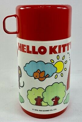 Vintage Hello Kitty 1976 Aladdin Lunch Box Sanrio Thermos - RARE