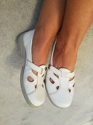 Hotter shoes size 5 Ladies Slip On Flats Pumps White Genuine Leather Comfort...