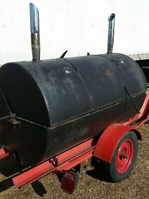 Large custom built BBQ Smoker / Grill with Rotisserie on single axle trailer.