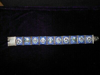Rare Antique Persian Hand Painted Story Panel Silver Tone Bracelet