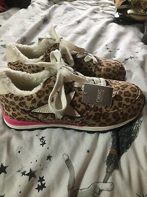 Next NEW Girls Size 12 Trainers Leopard Print Pattern Shoes