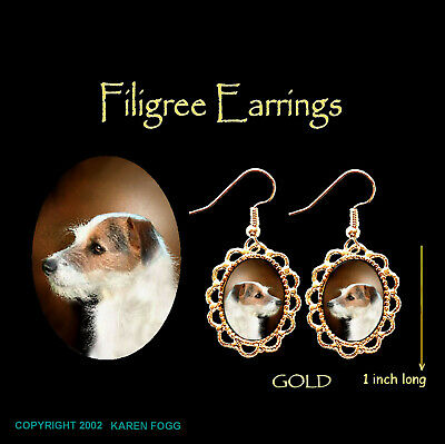 JACK RUSSELL TERRIER DOG Wire Fawn - GOLD FILIGREE EARRINGS Jewelry