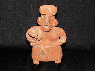 Pre-Columbian Standing Female Nayarit Figure with Child