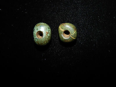 Pre-Columbian Jade Beads, Set of 2, Authentic,Very Rare,Central America