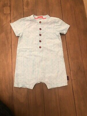Ted Baker Baby Boys Baby Blue Linen Romper Babygrow Size 9-12 Months