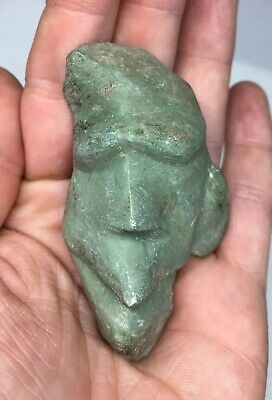 Pre-Columbian Green Stone Face ZOOMORPHIC Effigy AVIAN Carved Ancient Art