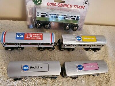 CTA Wooden Toy Train Red Pink Yellow Line Chicago