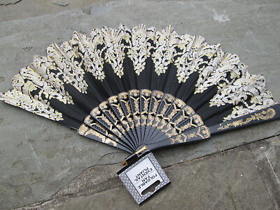 Hand Fan  Victorian Snowflake Black Sparkle Period Gothic Lace Glitter Mourning
