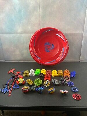 Lot of Beyblades Metal Plastic 2010 Launchers Spinners Rip Cords Tony Hasbro