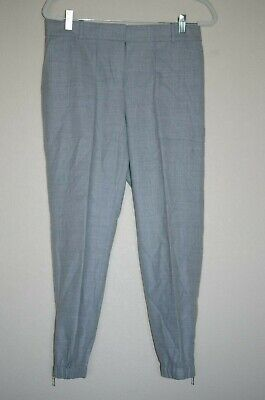 J. Crew City-Jogger Style Wool Flat-Front Trousers / Pants - Size: 8 | Grey