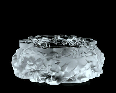 Glamorous Art Deco Bohemian Glass ' Panthers ' Decorative Large Ashtray