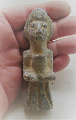 Circa 200Bc-200Ad Ancient Bactrian Chlorite Stone Idol In The Form Of A Man