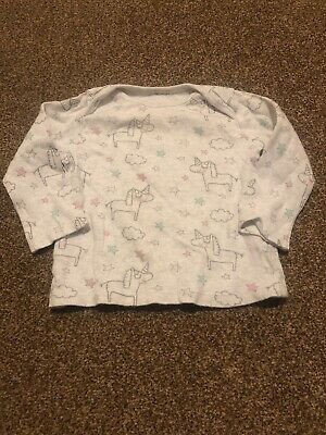 F&F grey long sleeved silver unicorns pink stars top baby girls 6-9 months