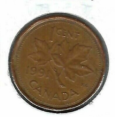 1991 Canadian Circulated One Cent Coin!