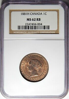 1881 H Canada Large Cent NGC MS-62 RB 1c