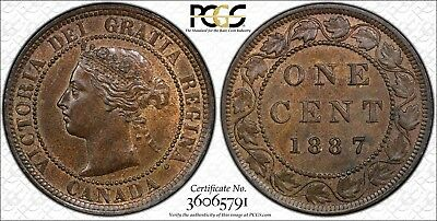 1887 Canada Large Cent Double Punched 87 PCGS MS-64 BN 1c
