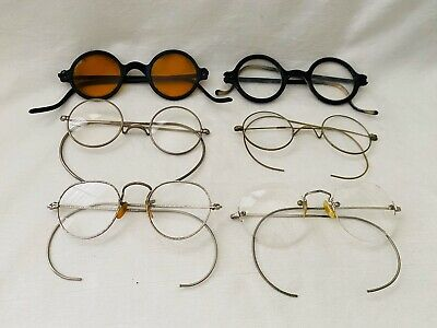 Antique LOT of VARIOUS & Mixed ROUNDS Styles Eyeglasses SPECTACLES AS-IS!