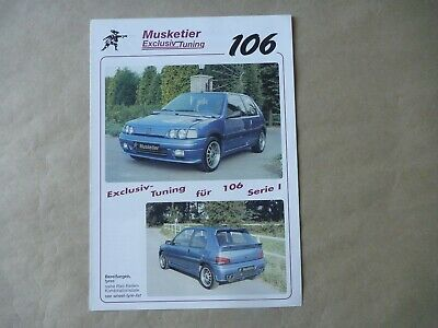 PEUGEOT 106 XSI MUSKETIER TUNING Brochure Prospekt Catalogue Dépliant Deutsch