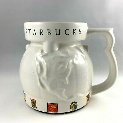 STARBUCKS Coffee of the World Globe Mug Map Embossed Ceramic Cup w Lid 1997 Vtg