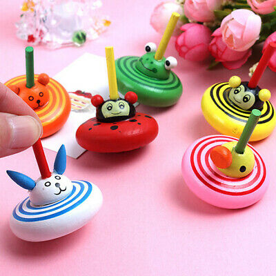 1Pc Cartoon Wood Gyro Toys Kids Adult Relief Stress Desktop Spinning Top Toys IY