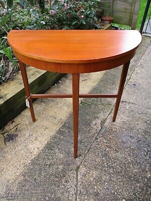 Fab Mid Century Modern Quality Vintage Retro Teak Demi Lune Hall Console Table