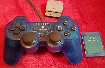 Blue Transparent Playstation 2 Controller And Memory Card