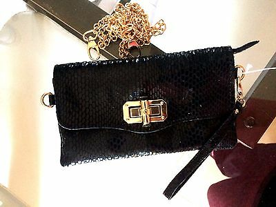 Handbag Pouch Evening Marriage Black with Chain White Gold