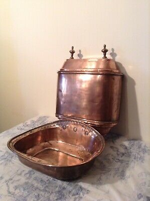 Vintage French Copper Lavabo, Tank & Sink, Hand Wash Basin, Fountain