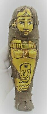 Beautiful Ancient Egyptian Gold Gilded Ushabti Shabti Covered In Coptic Cloth