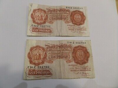 2 x Old Ten Shilling Notes signed by Beale