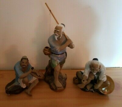 Vintage Chinese Mudmen Fishermen Ceramic Figures Ornaments 5 of 6 Lots