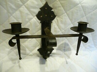 Vintage Large Iron Gothic Style Twin Candle Holders Sconces Wall Mounted 12""
