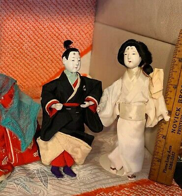 "PR Of MINI ANTIQUE ICHIMATSU 5.5"" DOLLS (HINA)TRADITIONAL SILK JAPANESE KIMONOS"