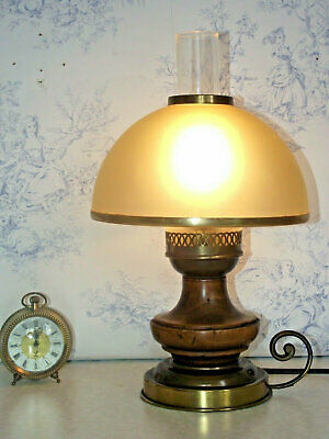French Mid Century Lantern Lamp Wood & Brass Amber Glass Shade & Funnel 1211